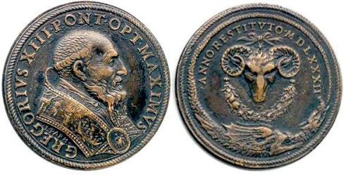 Medali logam Gregory XIII bergambar ular naga bersayap dan kepala kambing