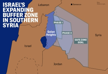 Peta militer Dataran Tinggi Golan Israel Utara